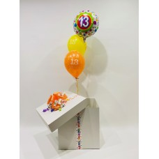 13th Birthday Foil and 2 Printed 13th Latex Balloons in a Box