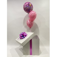 First Birthday Foil and 2 Printed Latex Balloons in a Box (Pink)