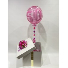 Pink 50 Sparkling Deco Bubble Balloon in a Box
