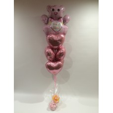 Pink Teddy and Hearts