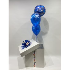30th Birthday Foil and 2 Printed 30th Latex Balloons in a Box (Blue)