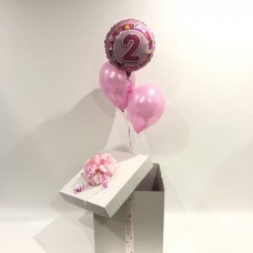 Second Birthday Foil and 2 Printed Latex Balloons in a Box (Pink)