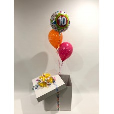 10th Birthday Foil and 2 Printed 10th Latex Balloons in a Box