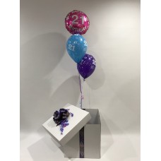 21st Birthday Foil and 2 Printed 21st Latex Balloons in a Box