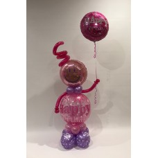 Deco Bubble Girl and Pink Happy Birthday Foil
