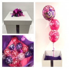 30th Birthday Foil and 2 Printed 30th Latex Balloons in a Box