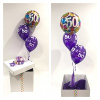 50th Birthday Foil and 2 Printed 50th Latex Balloons in a Box