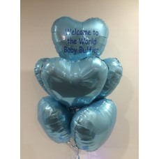 Personalised Message 7 Foil Hearts